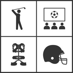 Vector Illustration of Sport Set Icons. Elements of Golf Player, Fun Club, Climber belt and Hockey helmet icon