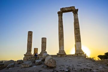 Temple of Hercules in Amman Citadel at sunset, Amman, Jordan