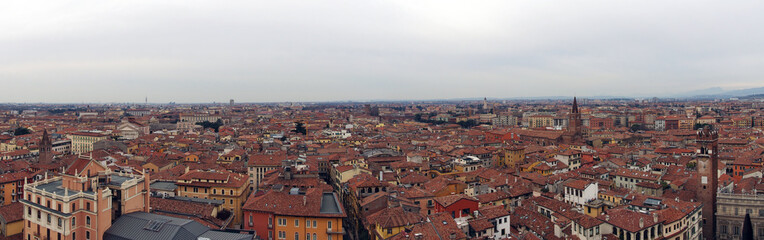 wide panorama image of the city of verona in italy showing famous building and historic landmarks with buildings stretching to the horizon