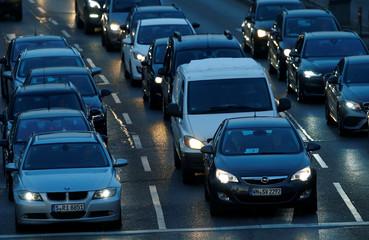Traffic is pictured at Neckartor in Stuttgart