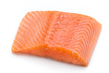 Fresh salmon fille with lachs on the white background.