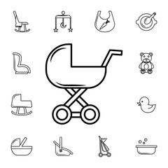 baby bed line icon. Set of baby element. Premium quality graphic design. Signs, outline symbols collection, simple thin line icon for websites,