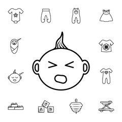 Crying Baby icon. Set of baby element. Premium quality graphic design. Signs, outline symbols collection, simple thin line icon for websites,