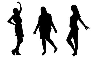 Silhouettes of 3 dancing women