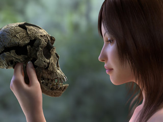 young woman is holding a skull of a prehistoric man