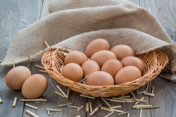 Eggs on wooden table ,Chicken Egg
