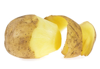 Potato with peel isolated on a white background