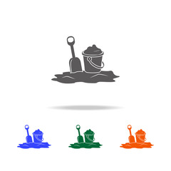 Icon of bucket filled with sand and scoop. Element of Beach holidays multi colored icons for mobile concept and web apps. Thin line icon for website design and development