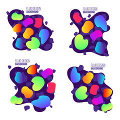 Creative vector illustration of modern fluid organic colorful gradient shapes composition isolated on transparent background. Art design fluorescent colors bubbles. Abstract concept graphic element