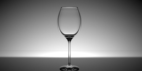 Wine glass with a white light in the background