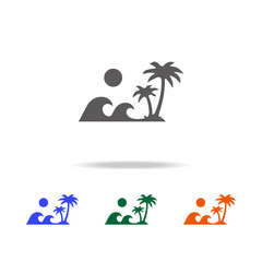 waves of palm trees island icon. Element of Beach holidays multi colored icons for mobile concept and web apps. Thin line icon for website design and development, app development