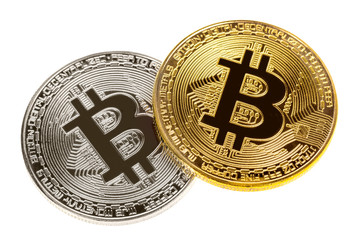 Silver and gold bitcoin coins isolated on white. Close up image. Electronic cryptography currency money exchange concept.