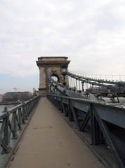 the pedestrian walkway of the famous chain bridge in budapest hungary