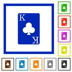King of clubs card flat framed icons