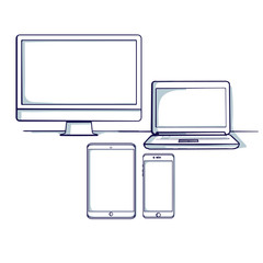 Set of different computer and mobile device: desktop, tablet, laptop, mobile phone. Isolated object. Hand drawn doodle cartoon vector illustration.