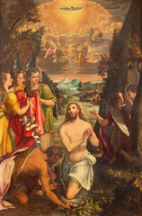 CREMONA, ITALY - MAY 24, 2016: The panting of Baptism of Jesus in church Chiesa di San Agostino by Andreas Mainardus (1593).