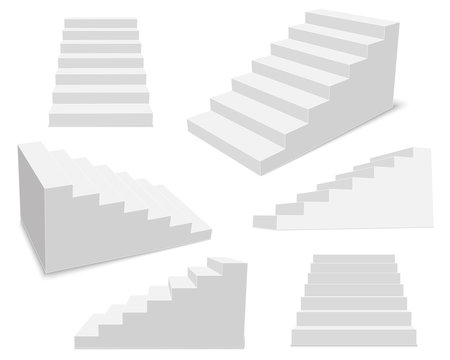 Creative vector illustration of 3d interior staircases, white stage set isolated on transparent background. Art design stairs steps collection. Abstract concept graphic business infographic element
