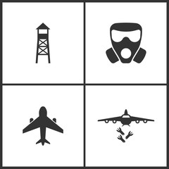 Vector Illustration of Weapon Set Icons. Suitable for use on web apps, mobile apps and print media. Elements of Observation post, Respirator, Airplane and Bombardment icon