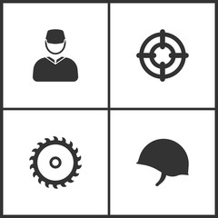 Vector Illustration of Weapon Set Icons. Suitable for use on web apps, mobile apps and print media. Elements of Soldier, Target, Saw and Soldier helmet icon