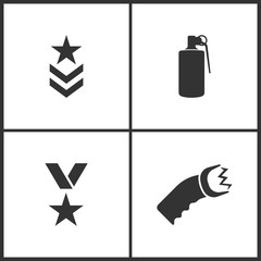 Vector Illustration of Weapon Set Icons. Suitable for use on web apps, mobile apps and print media. Elements of Military symbol, Hand grenade explosive, War medal and Shocker icon