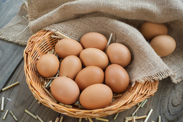 Eggs in a basket on wooden table ,Chicken Egg