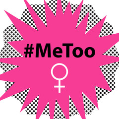 Hashtag MeToo vector illustration in comic book style. Violence against women and sexual harassment.