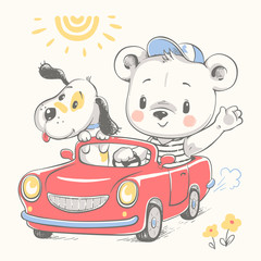 Cute baby bear driving car and a dog cartoon hand drawn vector illustration. Can be used for baby t-shirt print, fashion print design, kids wear, baby shower celebration greeting and invitation card.