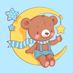 Cute baby bear sitting on the moon cartoon hand drawn vector illustration. Can be used for baby t-shirt print, fashion print design, kids wear, baby shower celebration greeting and invitation card.