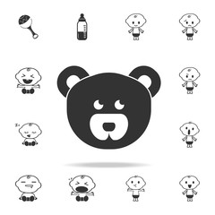 Teddy bear face icon. Set of child and baby toys icons. Web Icons Premium quality graphic design. Signs and symbols collection, simple icons for websites, web design