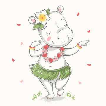 Cute baby hippo Hawaiian Hula dancer cartoon hand drawn vector illustration. Can be used for baby t-shirt print, fashion print design, kids wear, baby shower celebration greeting and invitation card.