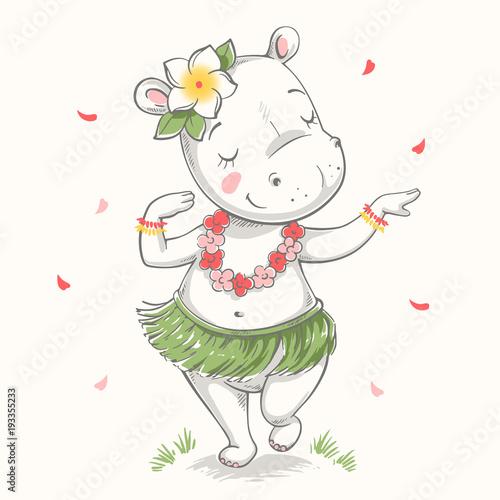 3a5b33bbe Cute baby hippo Hawaiian Hula dancer cartoon hand drawn vector  illustration. Can be used for