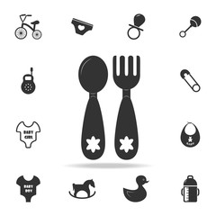 Baby spoon and fork icon. Set of child and baby toys icons. Web Icons Premium quality graphic design. Signs and symbols collection, simple icons for websites, web design
