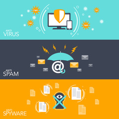 vector illustration concept Hacker three flat banner set with hacking anti virus email spam and spyware protection in cool colors
