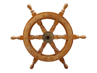 Old wooden ships helm wheel