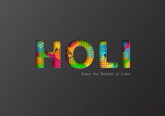 Holi holiday card with colorful watercolor splash. Paper cut style. Vector illustration.