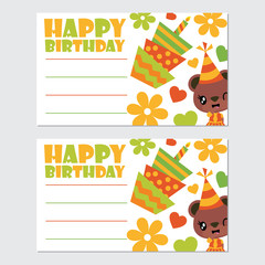 Cute bear girl and birthday elements vector cartoon illustration for happy birthday card design, postcard, and wallpaper