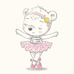 Cute baby bear ballerina dancing cartoon hand drawn vector illustration. Can be used for baby t-shirt print, fashion print design, kids wear, baby shower celebration, greeting and invitation card.