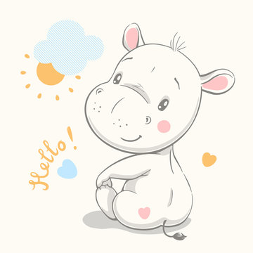 Cute baby hippo cartoon hand drawn vector illustration. Can be used for baby t-shirt print, fashion print design, kids wear, baby shower celebration, greeting and invitation card.