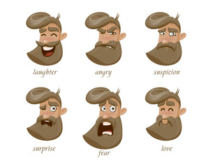 Hipster character expressions set. Laughter, angry, suspicion, sadness, surprise, fear, love, happy.
