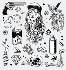 Edgy Black and White Tattoo Flash Set