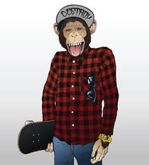 Monkey Skater Hipster Illustration