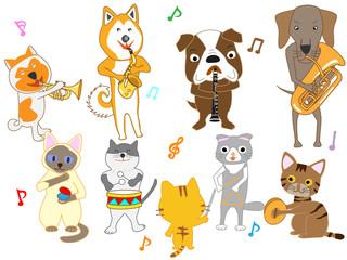 犬と猫のコンサート。犬と猫が楽器を演奏している。
