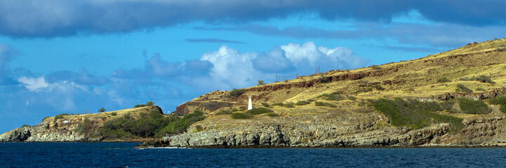 McGregor Point Light Beacon on the northwest coast of Maui, Hawaii, shot from a boat in Maalaea Bay