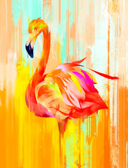 painted bright flamingo bird on the side