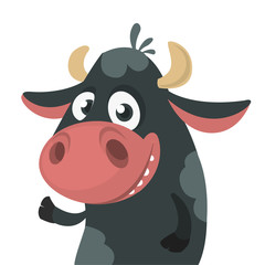 Cartoon cute black cow standing and presenting. Vector illustration of a cow character isolated on white. Great for print, banner or children book