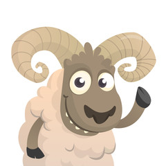 Cute cartoon sheep character. Vector illustration of fluffy lamb waving hand. Isolated on white