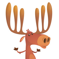 Funny cartoon moose. Vector moose character illustration