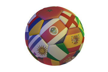 Isolated realistic football with flags of countries, in the center of Costa Rica, England, Spain, Nigeria, Uruguay, Colombia and Morocco, 3d rendering.