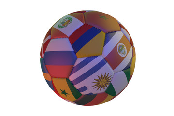 Isolated realistic football with flags of countries, in the center of Colombia, Uruguay, Costa Rica, Senegal and Russia, 3d rendering.