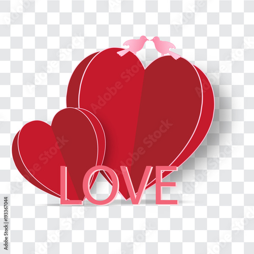Red Heart Pink Love And Bird On Transparent Background As Happy